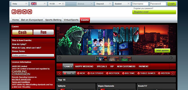 The front page of Jaxx Casino